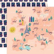 Carta Bella - Let's Travel 12x12 scrapbook paper - Travel Map