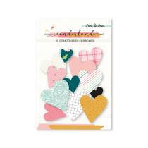 Lora Bailora - Wonderland chipboard szívek (15 db)