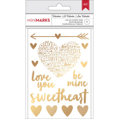 American Crafts Valentine Gold Rub-Ons