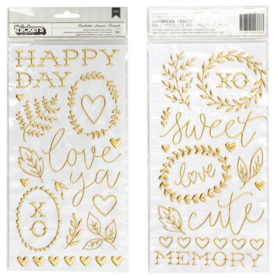 Crate Paper - Maggie Holmes Flourish Puffy Gold Thickers