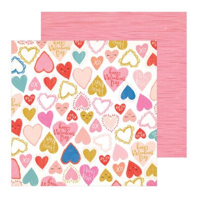 Crate Paper - La La Love 12x12 Patterned Paper - Heartbeat