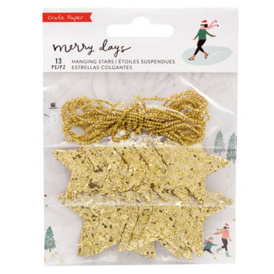 Crate Paper - Merry Days Gold Glitter Hanging Stars 13/Pkg