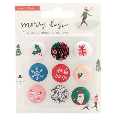 Crate Paper - Merry Days Fabric Buttons 9/Pkg