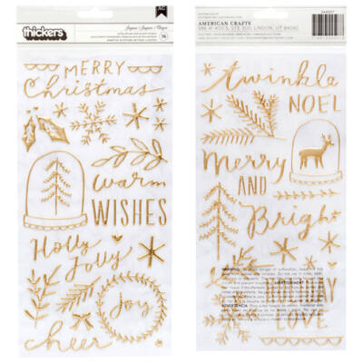 Crate Paper - Merry Days Gold Puffy Thickers - Joyous