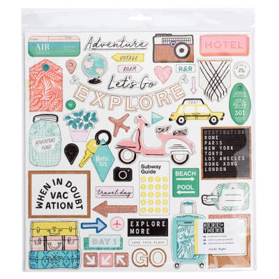 Crate Paper - Here & There 12x12 Chipboard Stickers