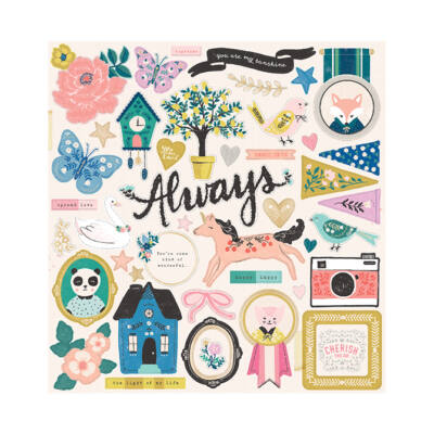 Crate Paper - Maggie Holmes - Willow Lane 12x12 Chipboard Stickers