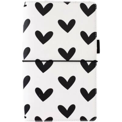 Freckled Fawn Pocket Travelers Notebook - Black & White Hearts