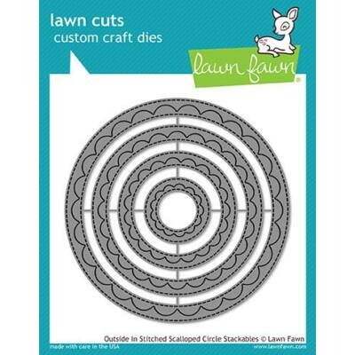 Lawn Cuts - Outside in Stitched Scalloped Circle Stackables