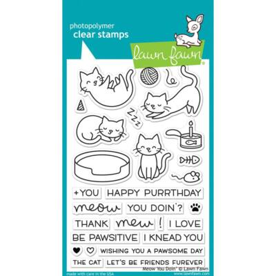 Lawn Fawn 4x6 Clear Stamp - Meow You Doin?