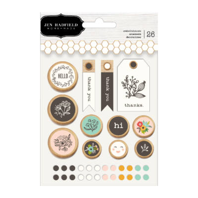 Pebbles - Jen Hadfield - Along The Way Mixed Embellishments (26 Piece)