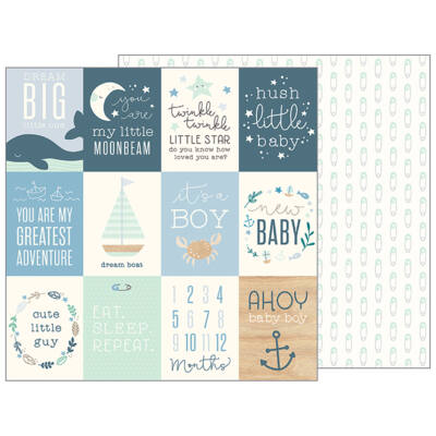 Pebbles - Nigh Night 12x12 Patterned Paper - Ahoy Baby Boy