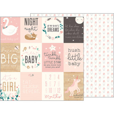 Pebbles - Nigh Night 12x12 Patterned Paper - Sweet Baby Girl
