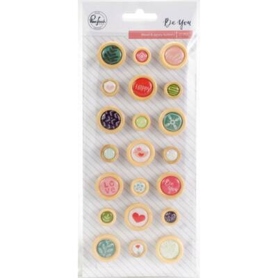 Pinkfresh Studio - Be You Wood Epoxy Buttons