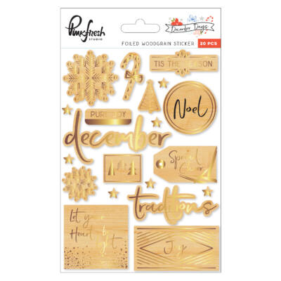 Pinkfresh Studio - December Days Foiled Woodgrain Stickers
