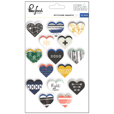 Pinkfresh Studio - Escape the Ordinary Stitched Hearts Stickers