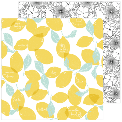 Pinkfresh Studio - Simple & Sweet 12x12 Paper - Lemon Lush