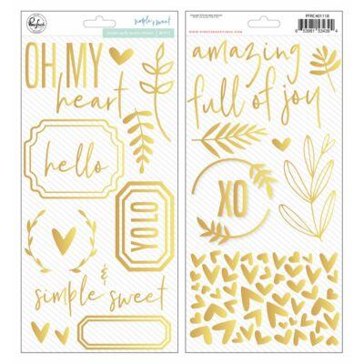 Pinkfresh Studio - Simple & Sweet Golden Puffy Phrases