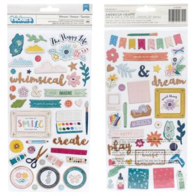 Pink Paislee - Paige Evans Whimsical chipboard matrica - Whimsical (89 db)