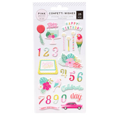 Pink Paislee - Confetti Wishes Puffy Stickers
