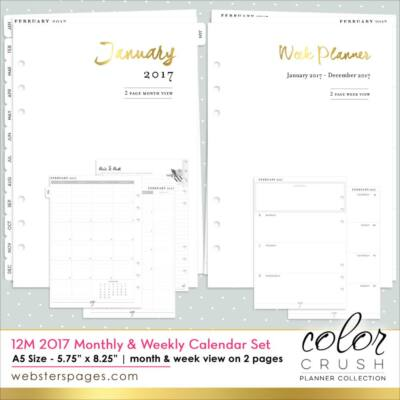 Websters Pages  - Week and Month Calendar 2017 - A4