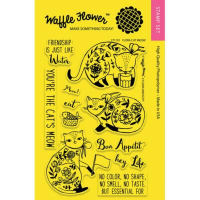 Waffle Flower Clear Stamp - Flora Cat Meow