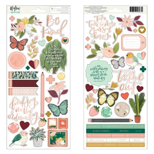 American Crafts - 1Canoe2 - Willow 6x12 Sticker Sheet (76 Piece)