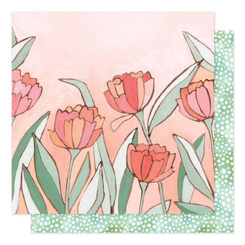 American Crafts - 1Canoe2 Saturday Afternoon 12x12 Patterned Paper - Double Tulips