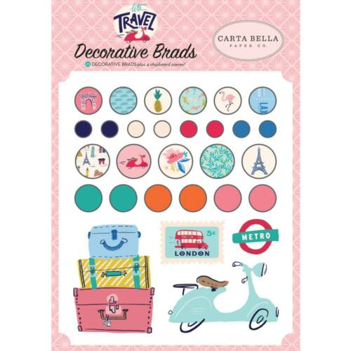 Carta Bella - Let's Travel Decorative Brads (25 Piece)