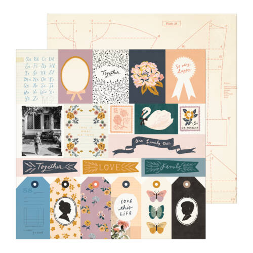 Crate Paper - Maggie Holmes - Heritage 12x12 Patterned Paper - Recollection