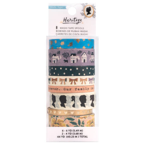 Crate Paper - Maggie Holmes - Heritage Washi Tape Set 44 Yards (8 Piece)