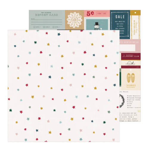 Crate Paper - Snowflake 12x12 Patterned Paper - Marshmallow