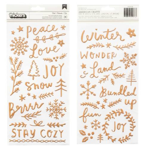 Crate Paper - Snowflake Puffy Thickers - Chill (89 Piece)