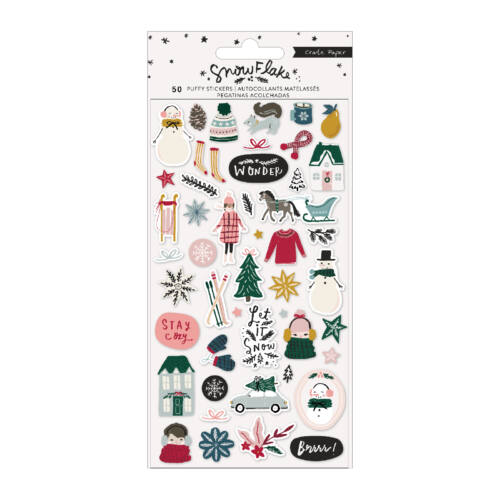 Crate Paper - Snowflake Puffy Stickers (48 Piece)