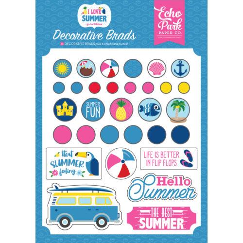 Echo Park - I Love Summer Decorative Brads (25 Pieces)