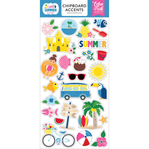 Echo Park - I Love Summer 6x13 Chipboard Stcikers - Accents