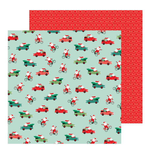 Pebbles - Merry Little Christmas 12x12 Patterned Paper - Santa On The Go