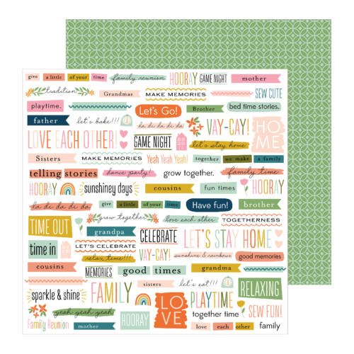 Pebbles - This is family 12x12 Patterned Paper - Bits & Pieces