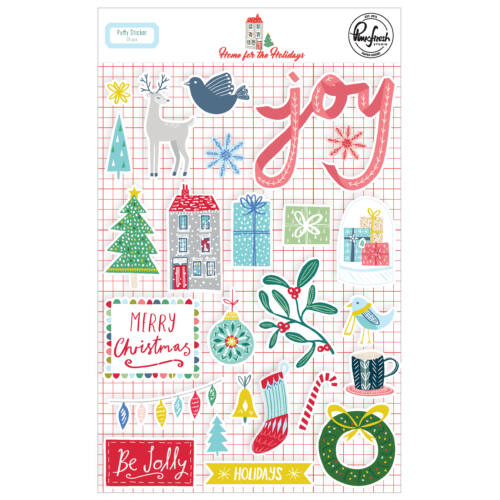 Pinkfresh Studio - Home for the Holidays Puffy Stickers (25 Pieces)