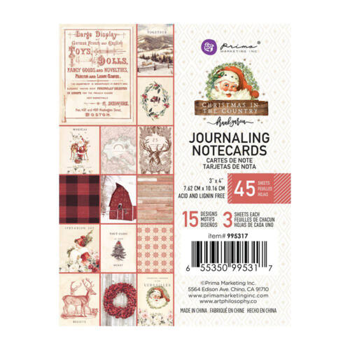 Prima Marketing - Christmas in the Country 3x4 Journaling Card