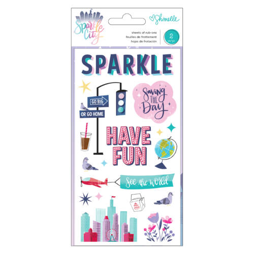 American Crafts - Shimelle - Sparkle City Rub-ons (2 Sheets)
