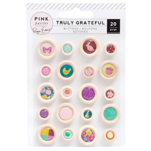 Pink Paislee - Paige Evans - Truly Grateful Epoxy Wood Buttons (20 Piece)