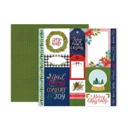 Pink Paislee - Together For Christmas 12x12 Patterned Paper - 1