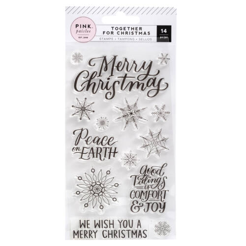 Pink Paislee - Together For Christmas Small Acrylic Stamp Set - Snowflakes & Words (14 Piece)