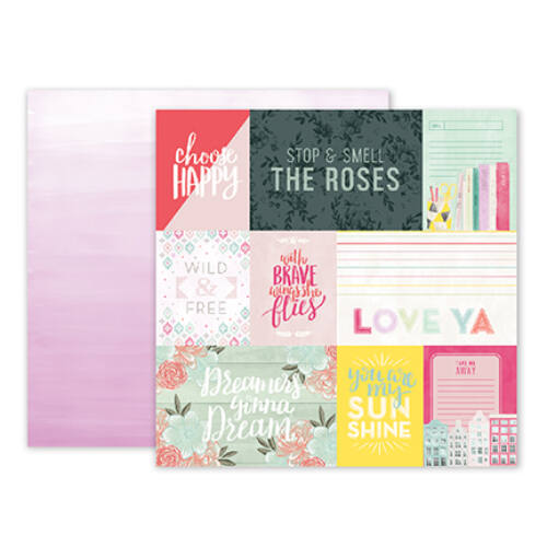 Pink Paislee - Paige Evans - Take Me Away 12 x 12 Double Sided Paper - 01