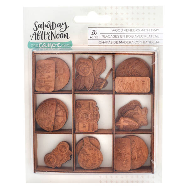 American Crafts - 1Canoe2 Saturday Afternoon Wood Embellishments (28 Piece)