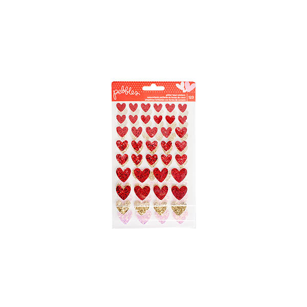 Pebbles My Funny Valentine Glitter Heart Stickers