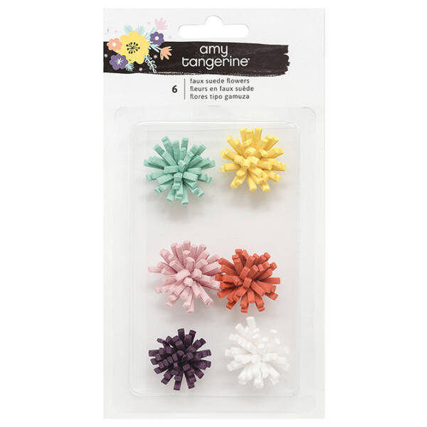 Amy Tangerine - Shine On Faux Suede Flowers 6/Pkg