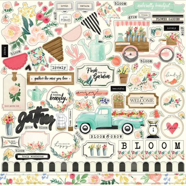 Carta Bella - Flower Market 12x12 Cardstock Stickers