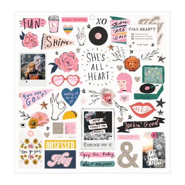 Crate Paper - All Heart 12x12 Chipboard Stickers (56 Piece)