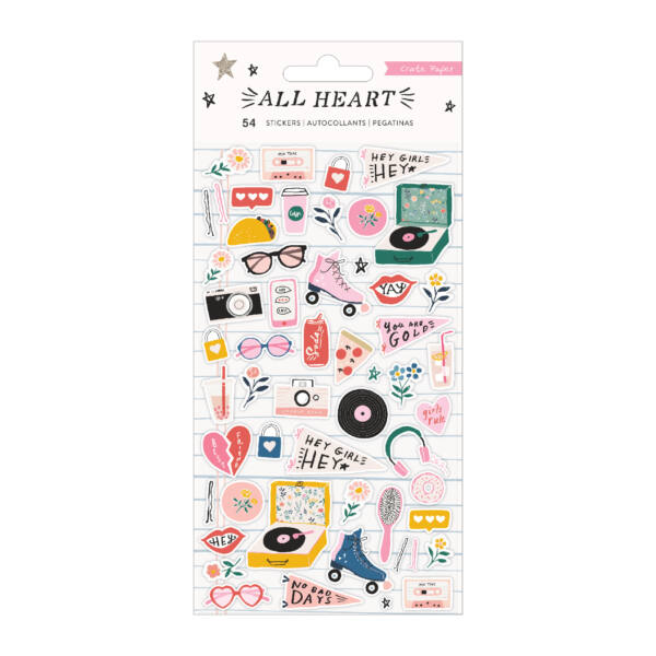 Crate Paper - All Heart Puffy Sticker (54 Piece)